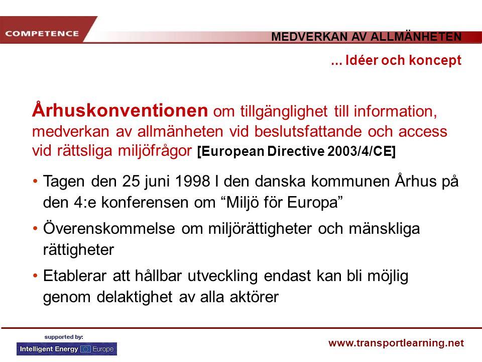 MEDVERKAN AV ALLMÄNHETEN www.transportlearning.net Århuskonventionen om tillgänglighet till information, medverkan av allmänheten vid beslutsfattande
