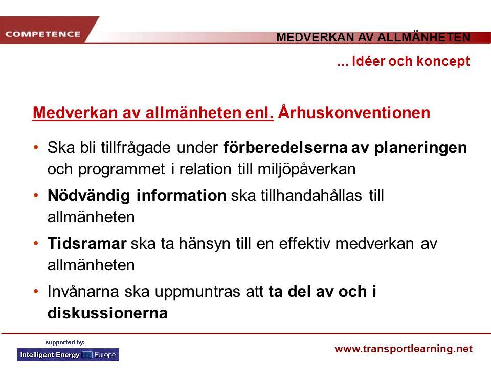 MEDVERKAN AV ALLMÄNHETEN www.transportlearning.net Medverkan av allmänheten enl. Århuskonventionen... Idéer och koncept Ska bli tillfrågade under förb