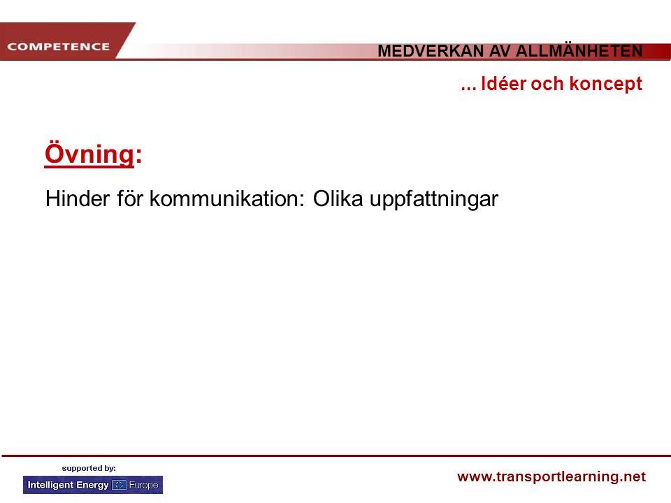 MEDVERKAN AV ALLMÄNHETEN www.transportlearning.net Övning:... Idéer och koncept Hinder för kommunikation: Olika uppfattningar