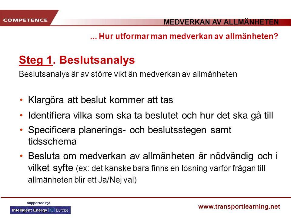 MEDVERKAN AV ALLMÄNHETEN www.transportlearning.net Steg 1. Beslutsanalys Beslutsanalys är av större vikt än medverkan av allmänheten... Hur utformar m