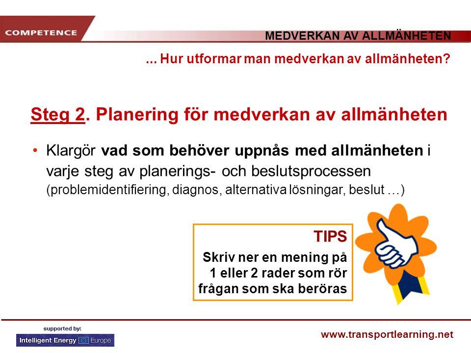 MEDVERKAN AV ALLMÄNHETEN www.transportlearning.net... Hur utformar man medverkan av allmänheten? Steg 2. Planering för medverkan av allmänheten Klargö