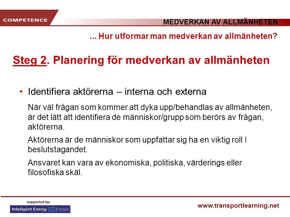 MEDVERKAN AV ALLMÄNHETEN www.transportlearning.net... Hur utformar man medverkan av allmänheten? Steg 2. Planering för medverkan av allmänheten Identi