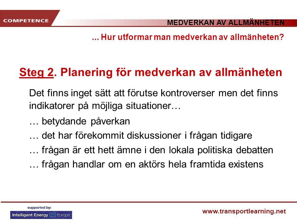 MEDVERKAN AV ALLMÄNHETEN www.transportlearning.net... Hur utformar man medverkan av allmänheten? Steg 2. Planering för medverkan av allmänheten Det fi