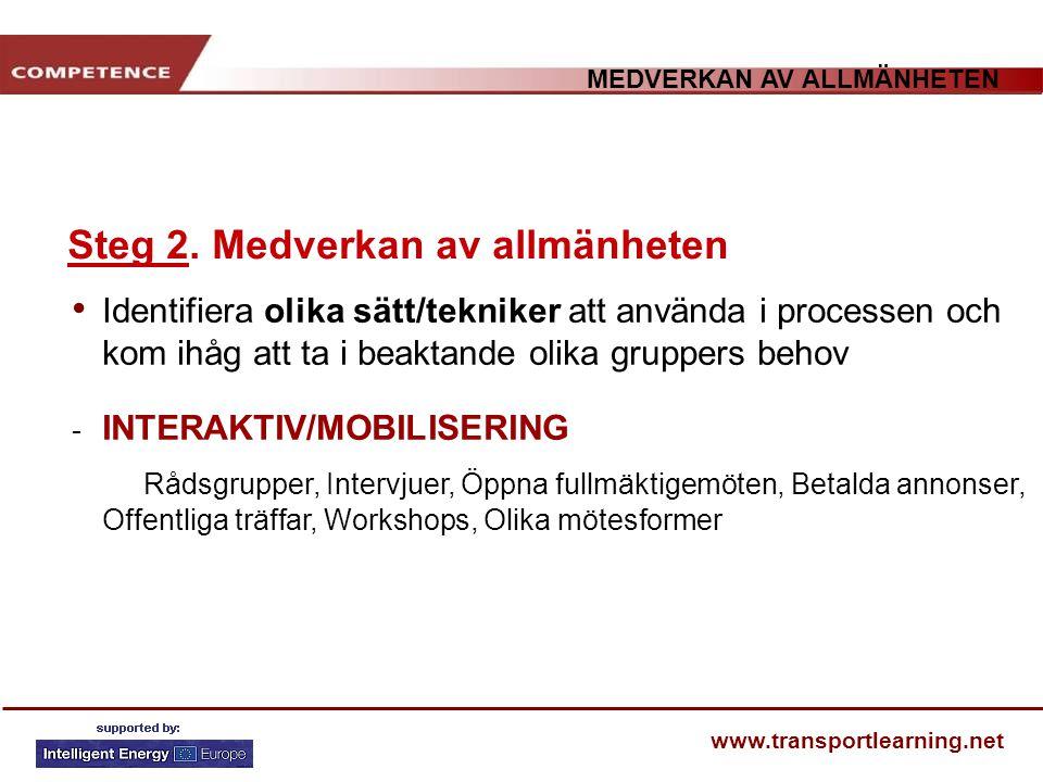 MEDVERKAN AV ALLMÄNHETEN www.transportlearning.net Steg 2. Medverkan av allmänheten Identifiera olika sätt/tekniker att använda i processen och kom ih