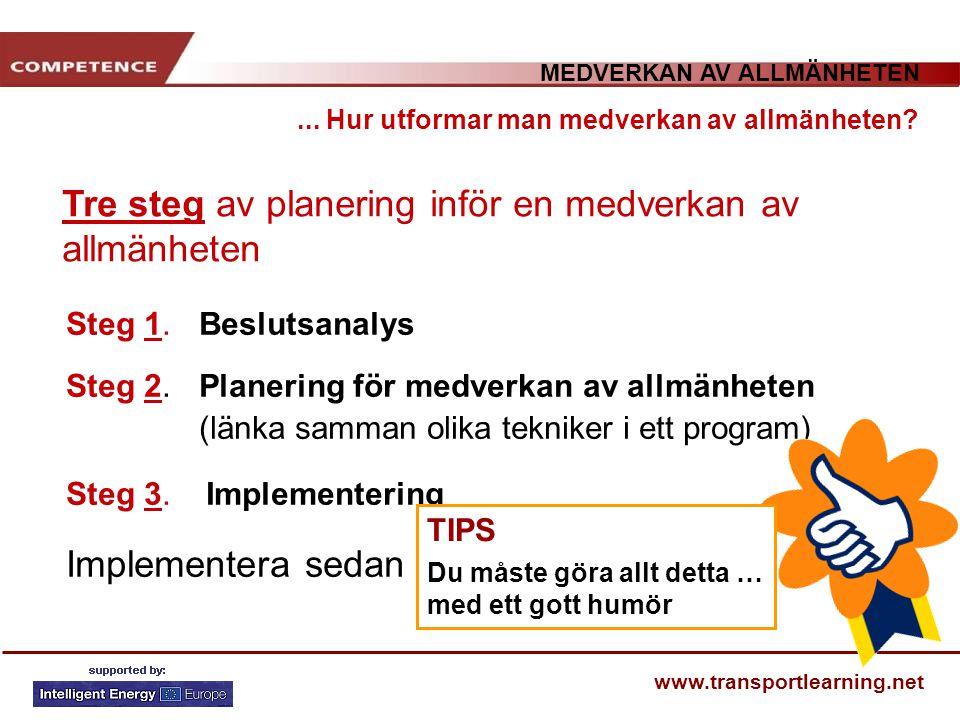 MEDVERKAN AV ALLMÄNHETEN www.transportlearning.net... Hur utformar man medverkan av allmänheten? Tre steg av planering inför en medverkan av allmänhet