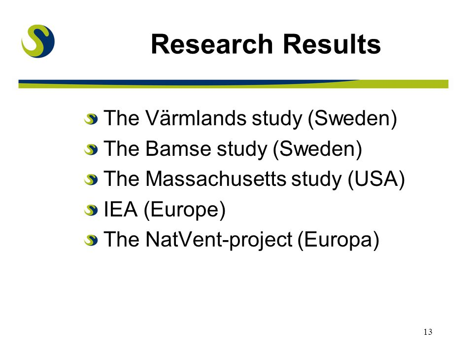 13 Research Results The Värmlands study (Sweden) The Bamse study (Sweden) The Massachusetts study (USA) IEA (Europe) The NatVent-project (Europa)