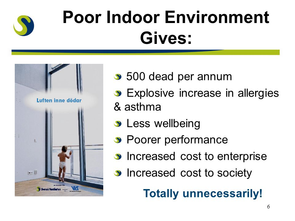 7 Miljöhälsoutredningen SOU 1996:124 No one should become sick or suffer any symptoms due to deficiencies in the indoor environment Poor ventilation in residential buildings, schools and pre-schools should be corrected All residential buildings, schools and pre- schools with a radon levels above the threshold value for private nuisance should be corrected before the year 2010