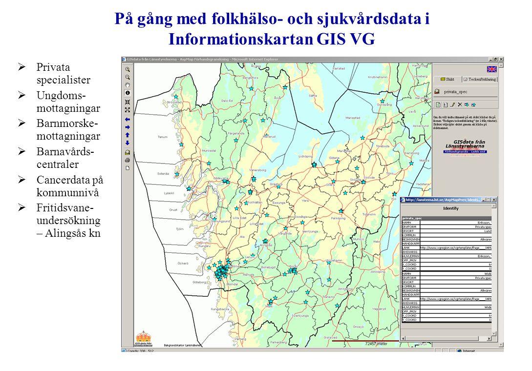 På gång med folkhälso- och sjukvårdsdata i Informationskartan GIS VG  Privata specialister  Ungdoms- mottagningar  Barnmorske- mottagningar  Barna