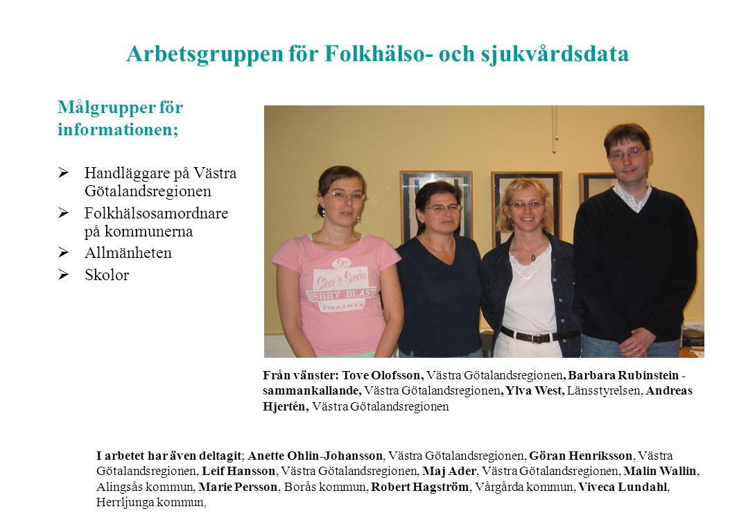 I arbetet har även deltagit; Anette Ohlin-Johansson, Västra Götalandsregionen, Göran Henriksson, Västra Götalandsregionen, Leif Hansson, Västra Götala