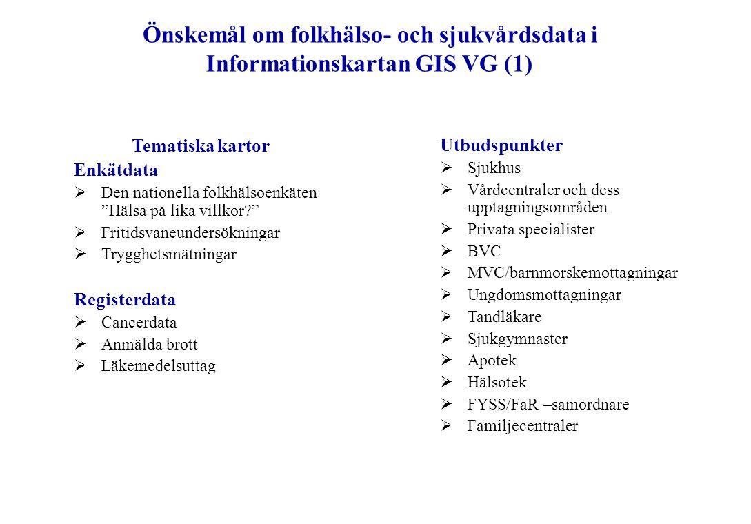 Önskemål om folkhälso- och sjukvårdsdata i Informationskartan GIS VG (2) Möjligheter att kombinera flera olika kartlager Folkhälsa/sjukvård Tematiska kartor + utbudspunkter Bakgrundskartor Befolkning Fritidsanläggningar Kommunikationer Kultur Miljöfaktorer Vägar