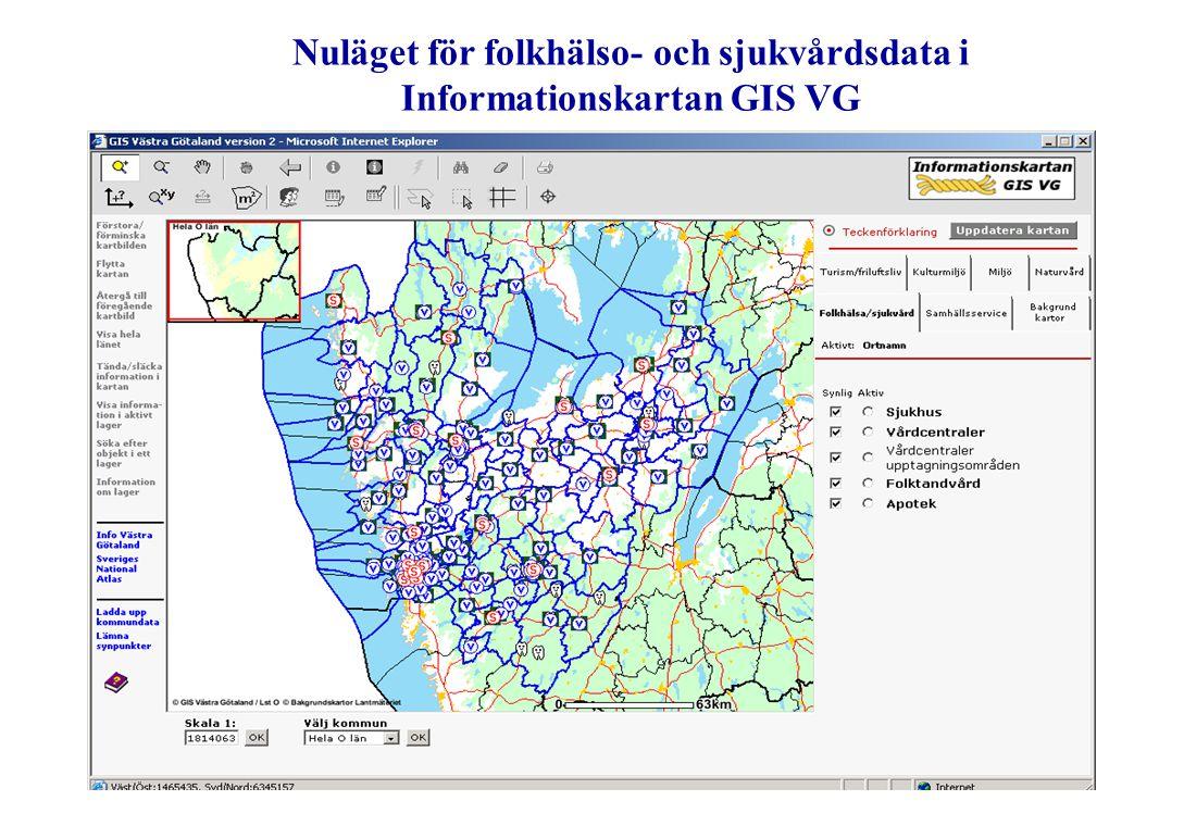 Nuläget för folkhälso- och sjukvårdsdata i Informationskartan GIS VG