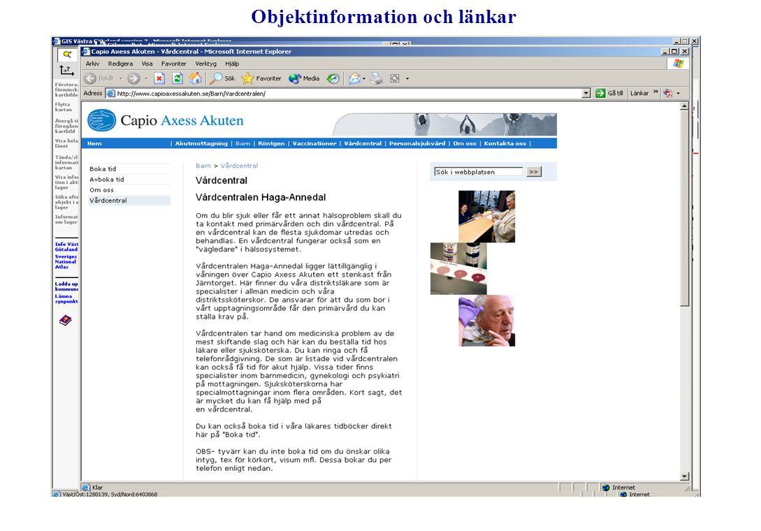 Objektinformation och länkar