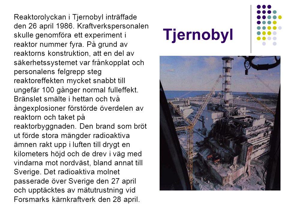 Följder av olyckan i Sverige idag Av det radioaktiva nedfallet återstår idag bara radioaktivt cesium, Cs-137, som är av någon betydelse från strålskyddssynpunkt.