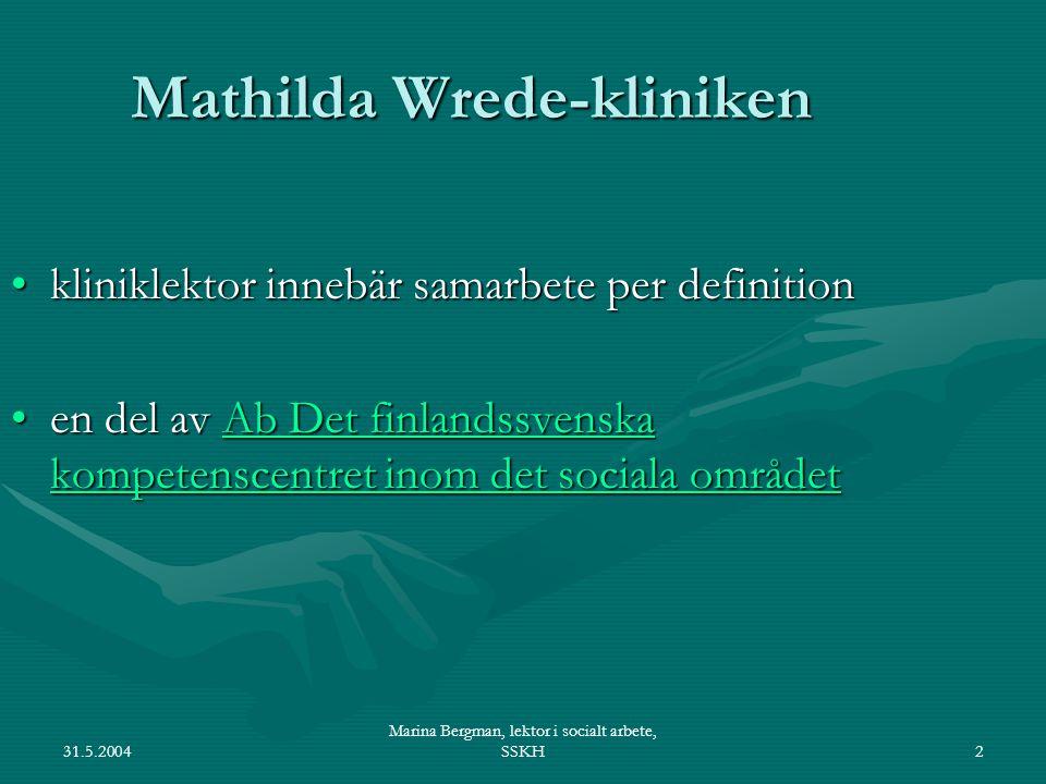 31.5.2004 Marina Bergman, lektor i socialt arbete, SSKH2 Mathilda Wrede-kliniken kliniklektor innebär samarbete per definitionkliniklektor innebär samarbete per definition en del av Ab Det finlandssvenska kompetenscentret inom det sociala områdeten del av Ab Det finlandssvenska kompetenscentret inom det sociala områdetAb Det finlandssvenska kompetenscentret inom det sociala områdetAb Det finlandssvenska kompetenscentret inom det sociala området