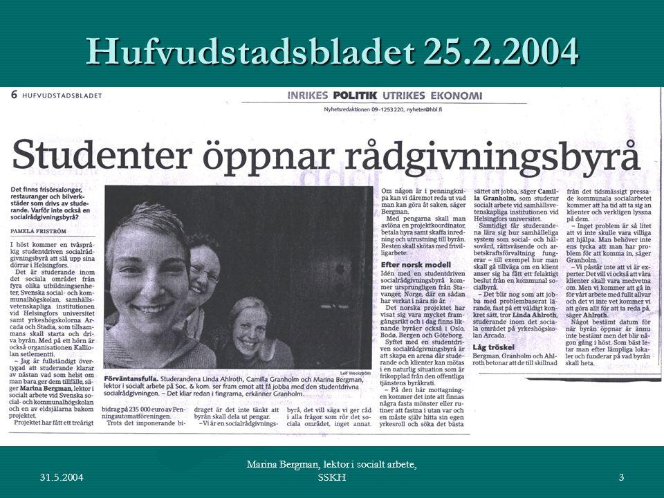 31.5.2004 Marina Bergman, lektor i socialt arbete, SSKH4 Det socialpediatriska seminariet startade som Ekenäsprojektet för ca 25 år sedan av Ole Wasz-Höckert, Märta Donner och Gunvor Brettschneiderstartade som Ekenäsprojektet för ca 25 år sedan av Ole Wasz-Höckert, Märta Donner och Gunvor Brettschneider medi-, soc&kom- och sjukisstudenter gör hembesök hos familjer och samlas till årliga seminariermedi-, soc&kom- och sjukisstudenter gör hembesök hos familjer och samlas till årliga seminarier idag: heldagsseminarium om multiprofessionellt samarbete i fall då läkare antar att ett barn far illaidag: heldagsseminarium om multiprofessionellt samarbete i fall då läkare antar att ett barn far illa