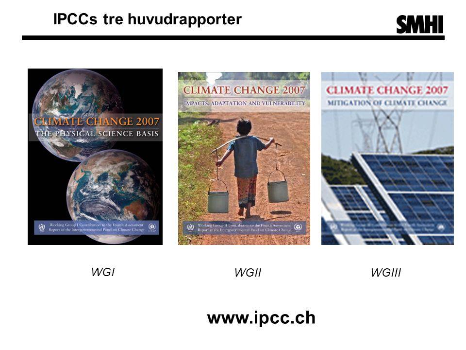 http://www.ipcc.ch WGII WGI WGIII IPCCs tre huvudrapporter