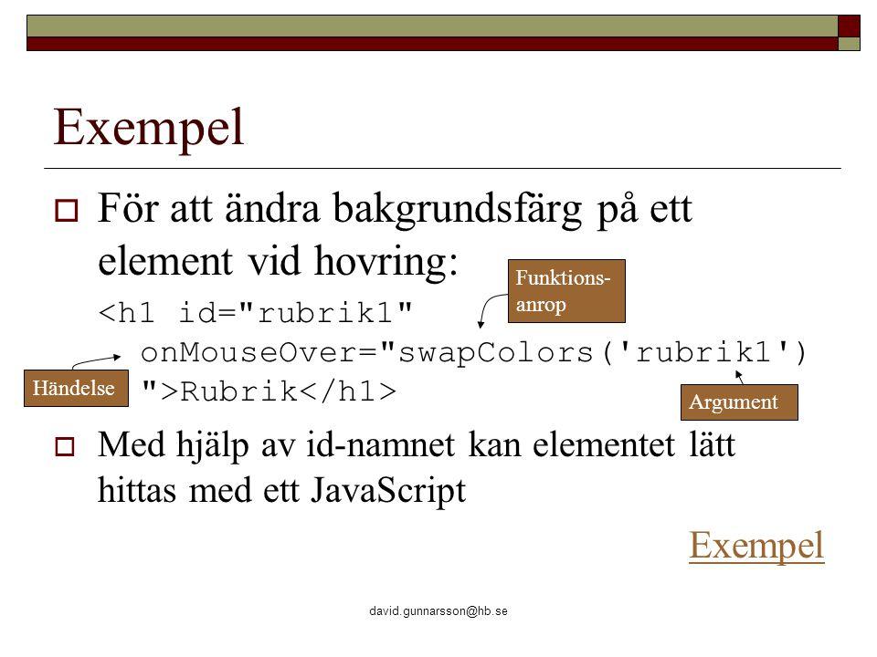david.gunnarsson@hb.se Exempel  För att ändra bakgrundsfärg på ett element vid hovring: Rubrik  Med hjälp av id-namnet kan elementet lätt hittas med ett JavaScript Exempel Händelse Funktions- anrop Argument