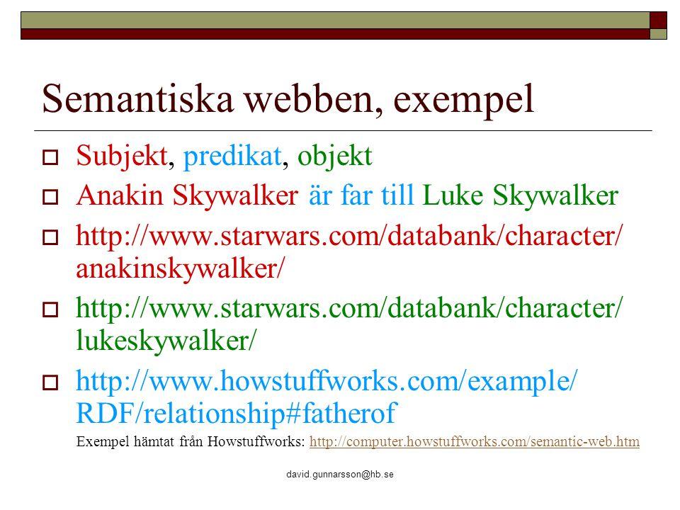 david.gunnarsson@hb.se Semantiska webben, exempel  Subjekt, predikat, objekt  Anakin Skywalker är far till Luke Skywalker  http://www.starwars.com/databank/character/ anakinskywalker/  http://www.starwars.com/databank/character/ lukeskywalker/  http://www.howstuffworks.com/example/ RDF/relationship#fatherof Exempel hämtat från Howstuffworks: http://computer.howstuffworks.com/semantic-web.htmhttp://computer.howstuffworks.com/semantic-web.htm