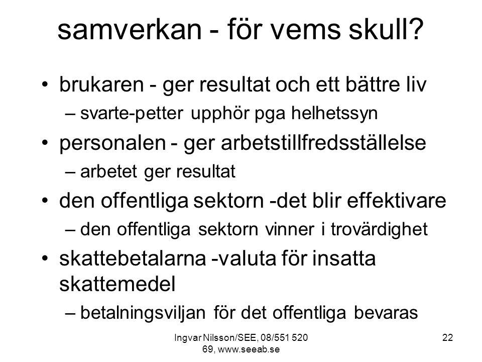 Ingvar Nilsson/SEE, 08/551 520 69, www.seeab.se 22 samverkan - för vems skull.