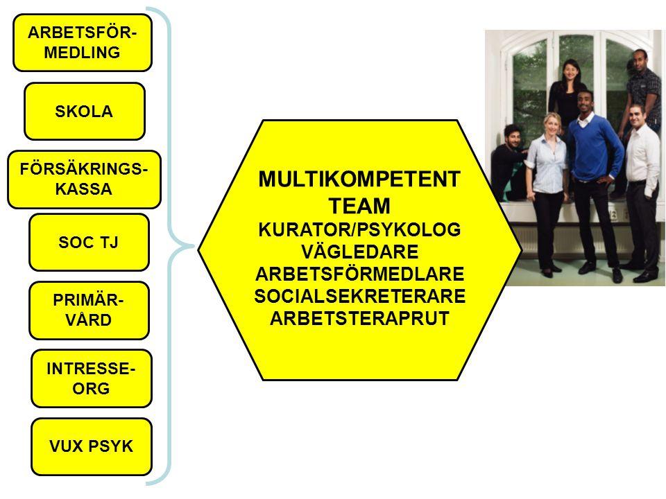 ARBETSFÖR- MEDLING MULTIKOMPETENT TEAM KURATOR/PSYKOLOG VÄGLEDARE ARBETSFÖRMEDLARE SOCIALSEKRETERARE ARBETSTERAPRUT SKOLA SOC TJ PRIMÄR- VÅRD INTRESSE- ORG VUX PSYK FÖRSÄKRINGS- KASSA