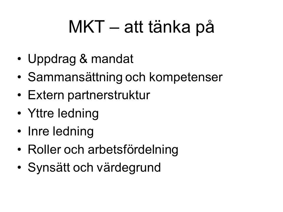 MKT – att tänka på Uppdrag & mandat Sammansättning och kompetenser Extern partnerstruktur Yttre ledning Inre ledning Roller och arbetsfördelning Synsätt och värdegrund