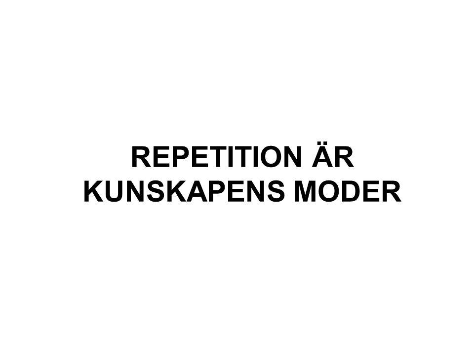 REPETITION ÄR KUNSKAPENS MODER