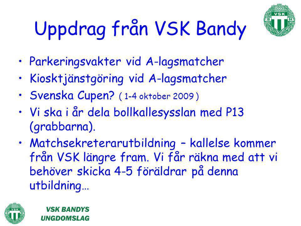Uppdrag från VSK Bandy Parkeringsvakter vid A-lagsmatcher Kiosktjänstgöring vid A-lagsmatcher Svenska Cupen? ( 1-4 oktober 2009 ) Vi ska i år dela bol