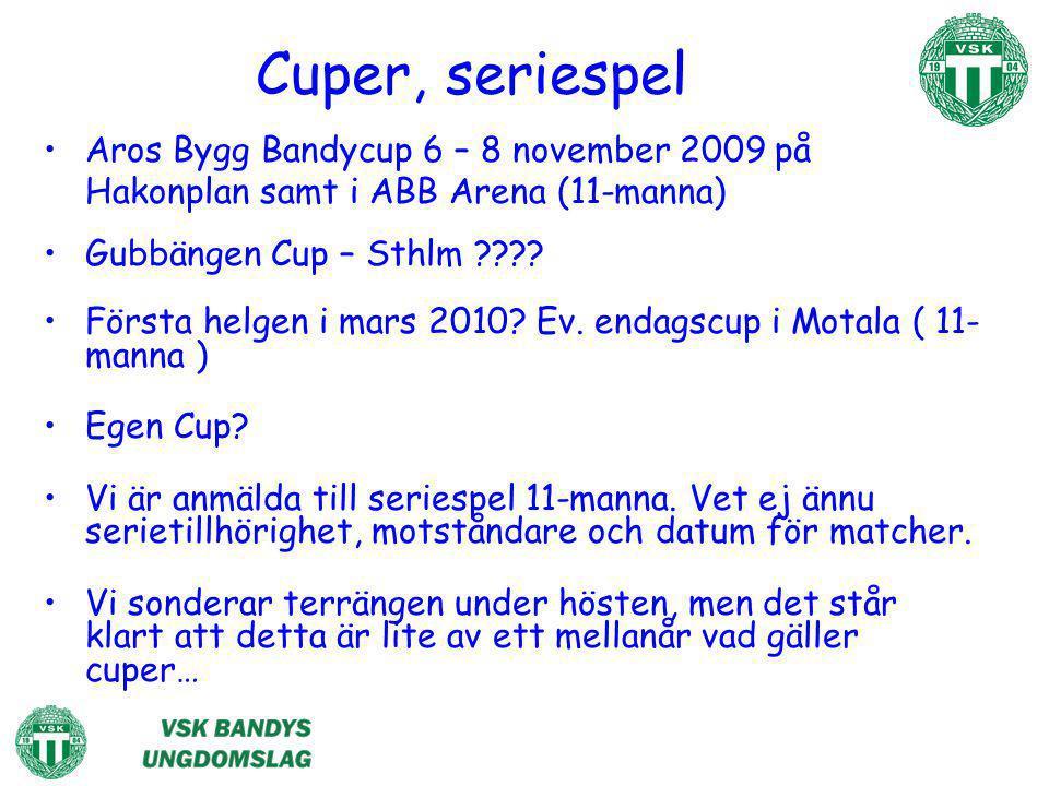 Cuper, seriespel Aros Bygg Bandycup 6 – 8 november 2009 på Hakonplan samt i ABB Arena (11-manna) Gubbängen Cup – Sthlm ???? Första helgen i mars 2010?