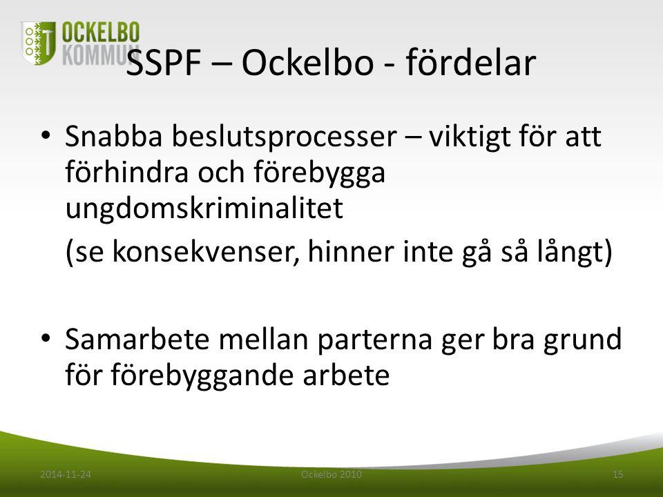 SSPF – Ockelbo - fördelar Snabba beslutsprocesser – viktigt för att förhindra och förebygga ungdomskriminalitet (se konsekvenser, hinner inte gå så långt) Samarbete mellan parterna ger bra grund för förebyggande arbete 2014-11-24Ockelbo 201015