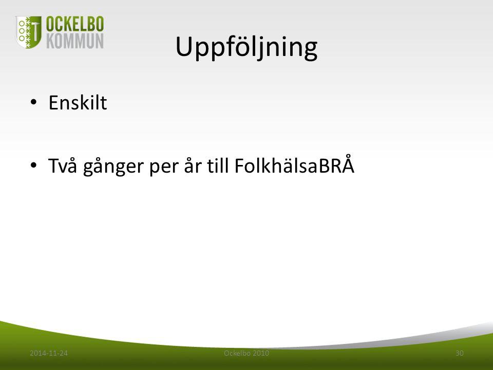 Uppföljning Enskilt Två gånger per år till FolkhälsaBRÅ 2014-11-24Ockelbo 201030