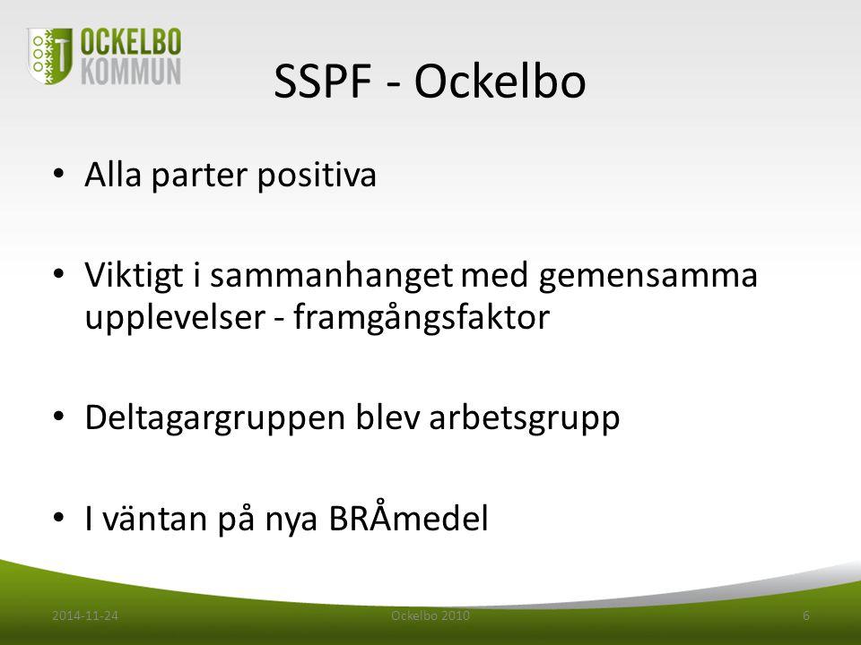 SSPF - Ockelbo Flertal möten innan planeringsdagar Diskussioner bla om vi behövde förankra politiskt 2014-11-24Ockelbo 20107