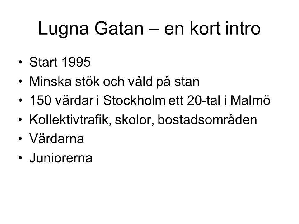 Lugna Gatan – en kort intro Start 1995 Minska stök och våld på stan 150 värdar i Stockholm ett 20-tal i Malmö Kollektivtrafik, skolor, bostadsområden