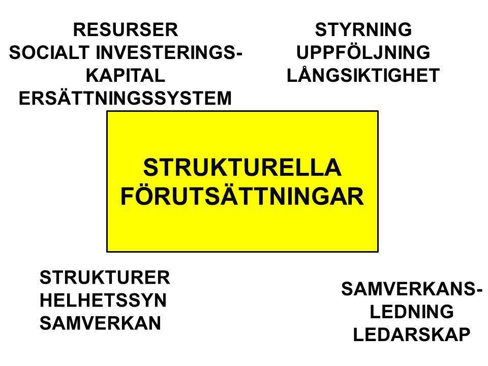 STRUKTURELLA FÖRUTSÄTTNINGAR RESURSER SOCIALT INVESTERINGS- KAPITAL ERSÄTTNINGSSYSTEM STRUKTURER HELHETSSYN SAMVERKAN STYRNING UPPFÖLJNING LÅNGSIKTIGH