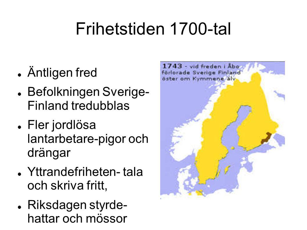 Frihetstiden 1700-tal Äntligen fred Befolkningen Sverige- Finland tredubblas Fler jordlösa lantarbetare-pigor och drängar Yttrandefriheten- tala och s