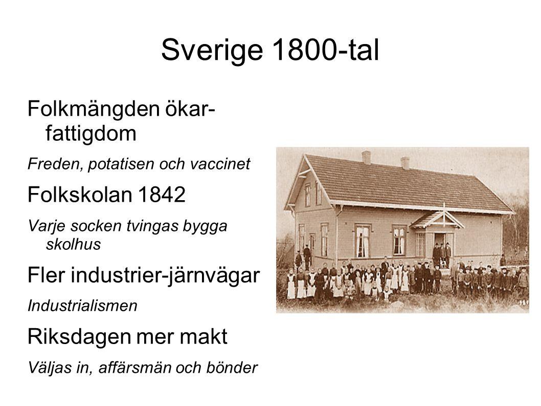 Sverige 1800-tal Folkmängden ökar- fattigdom Freden, potatisen och vaccinet Folkskolan 1842 Varje socken tvingas bygga skolhus Fler industrier-järnväg