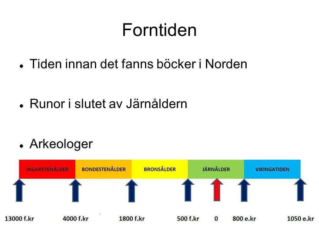 Forntiden Tiden innan det fanns böcker i Norden Runor i slutet av Järnåldern Arkeologer