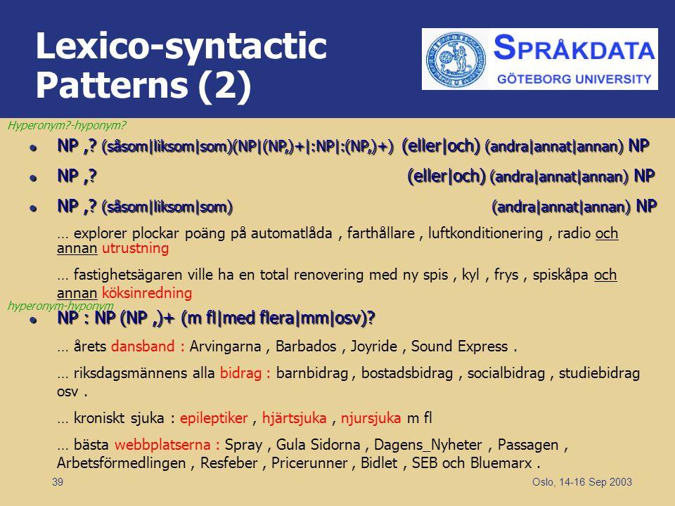 Oslo, 14-16 Sep 2003 39 Lexico-syntactic Patterns (2) NP,? (såsom|liksom|som)(NP|(NP,)+|:NP|:(NP,)+) (eller|och) (andra|annat|annan) NP NP,? (såsom|li