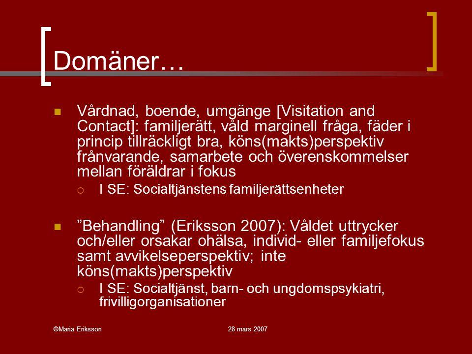 ©Maria Eriksson28 mars 2007 Domäner… Vårdnad, boende, umgänge [Visitation and Contact]: familjerätt, våld marginell fråga, fäder i princip tillräcklig
