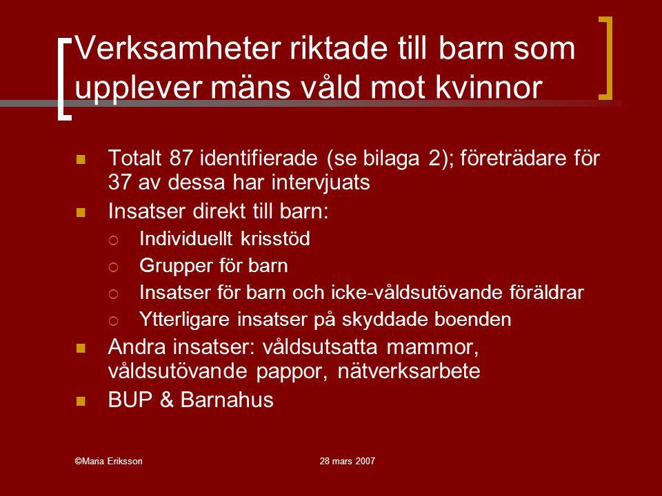 ©Maria Eriksson28 mars 2007 Verksamheter riktade till barn som upplever mäns våld mot kvinnor Totalt 87 identifierade (se bilaga 2); företrädare för 37 av dessa har intervjuats Insatser direkt till barn:  Individuellt krisstöd  Grupper för barn  Insatser för barn och icke-våldsutövande föräldrar  Ytterligare insatser på skyddade boenden Andra insatser: våldsutsatta mammor, våldsutövande pappor, nätverksarbete BUP & Barnahus