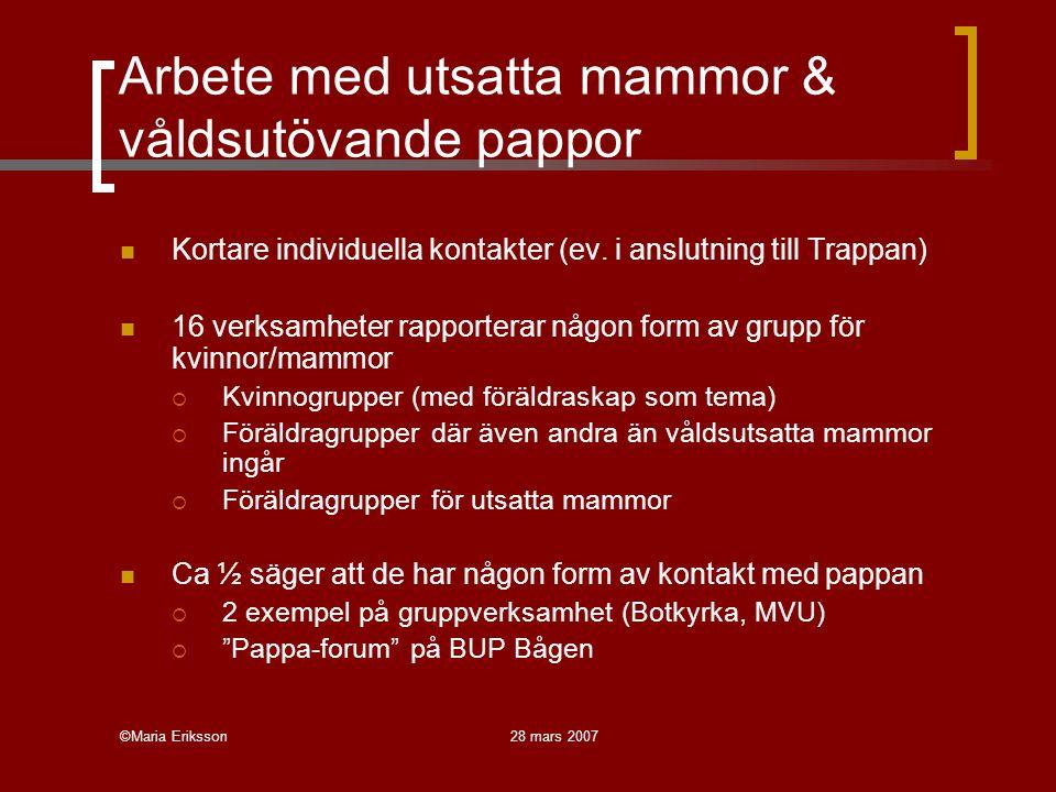 ©Maria Eriksson28 mars 2007 Arbete med utsatta mammor & våldsutövande pappor Kortare individuella kontakter (ev. i anslutning till Trappan) 16 verksam