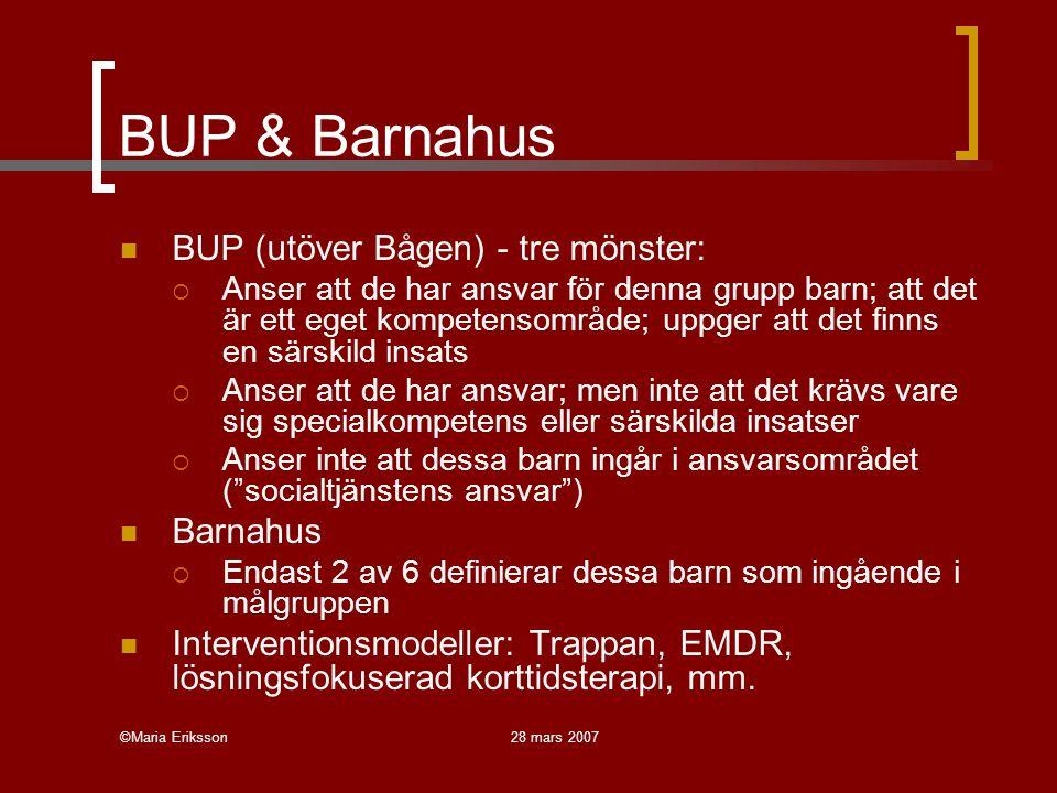 ©Maria Eriksson28 mars 2007 BUP & Barnahus BUP (utöver Bågen) - tre mönster:  Anser att de har ansvar för denna grupp barn; att det är ett eget kompe