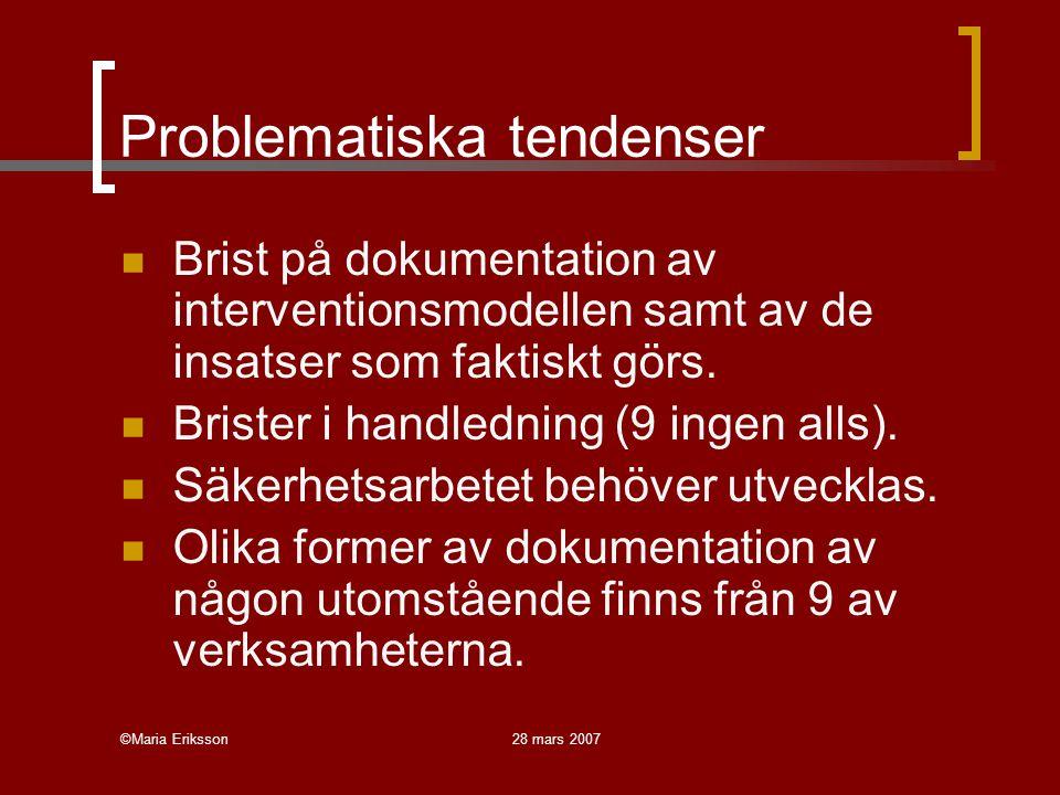 ©Maria Eriksson28 mars 2007 Problematiska tendenser Brist på dokumentation av interventionsmodellen samt av de insatser som faktiskt görs. Brister i h
