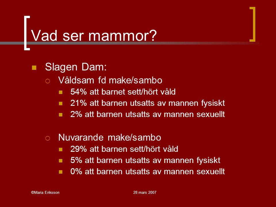 ©Maria Eriksson28 mars 2007 Vad ser mammor? Slagen Dam:  Våldsam fd make/sambo 54% att barnet sett/hört våld 21% att barnen utsatts av mannen fysiskt
