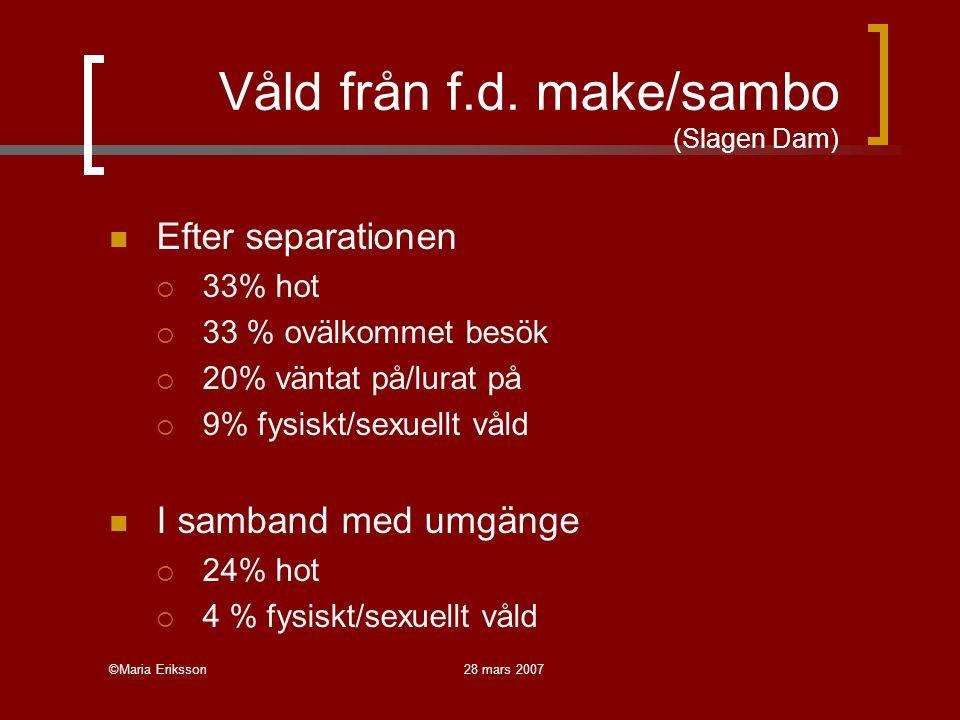 ©Maria Eriksson28 mars 2007 Våld från f.d. make/sambo (Slagen Dam) Efter separationen  33% hot  33 % ovälkommet besök  20% väntat på/lurat på  9%