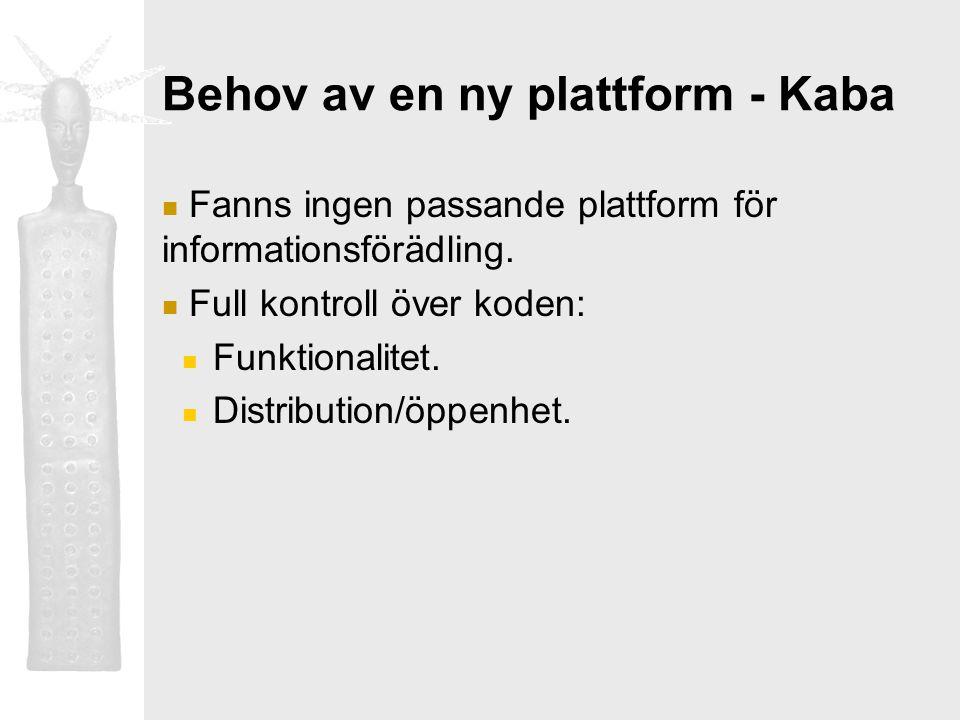 Behov av en ny plattform - Kaba Fanns ingen passande plattform för informationsförädling. Full kontroll över koden: Funktionalitet. Distribution/öppen