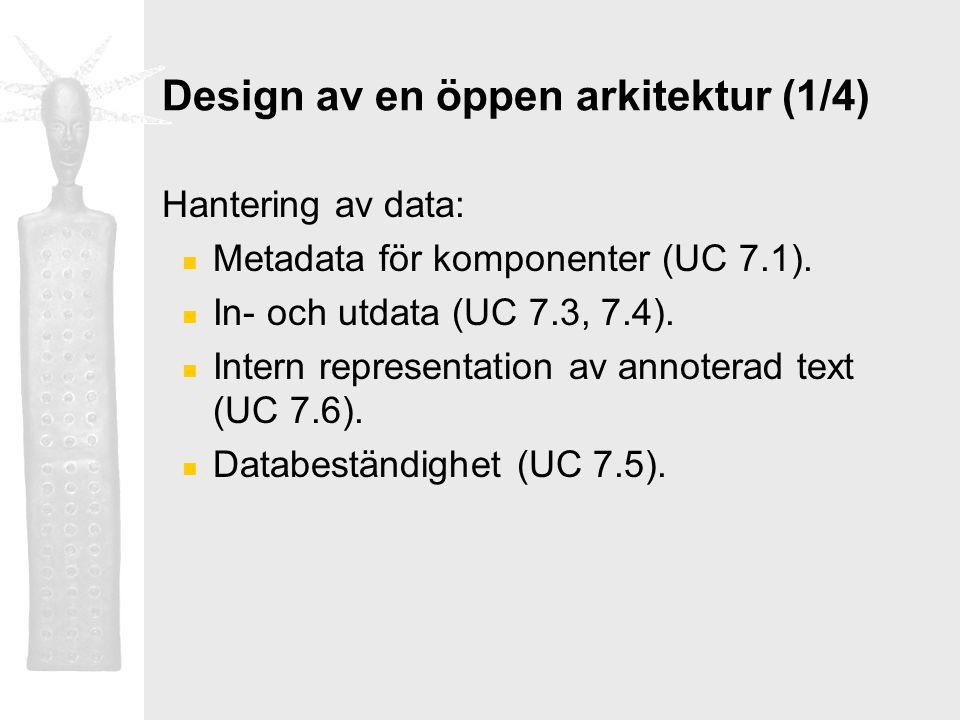 Design av en öppen arkitektur (1/4) Hantering av data: Metadata för komponenter (UC 7.1). In- och utdata (UC 7.3, 7.4). Intern representation av annot