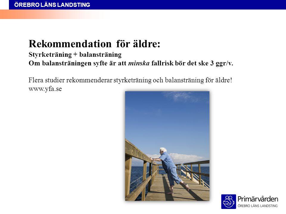 ÖREBRO LÄNS LANDSTING Rekommendation för äldre: Styrketräning + balansträning Om balansträningen syfte är att minska fallrisk bör det ske 3 ggr/v.