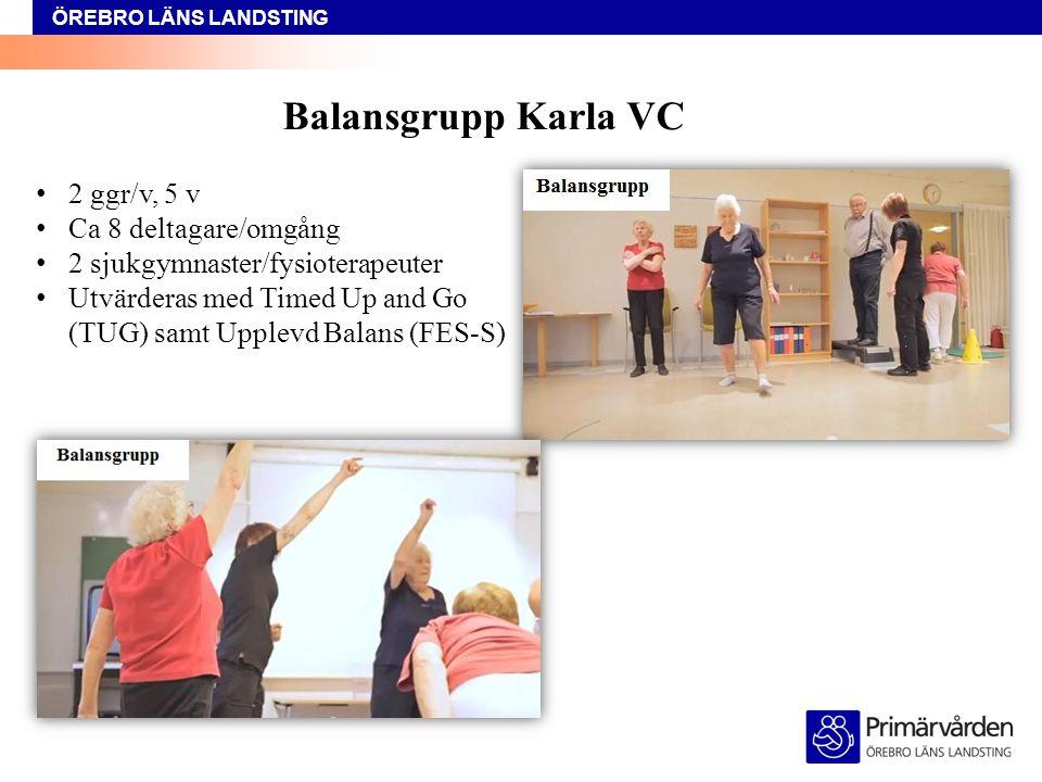 ÖREBRO LÄNS LANDSTING Balansgrupp Karla VC Gemensam uppvärmning Stationsträning balans/benstyrka Gemensam avslutning, boll/ballong