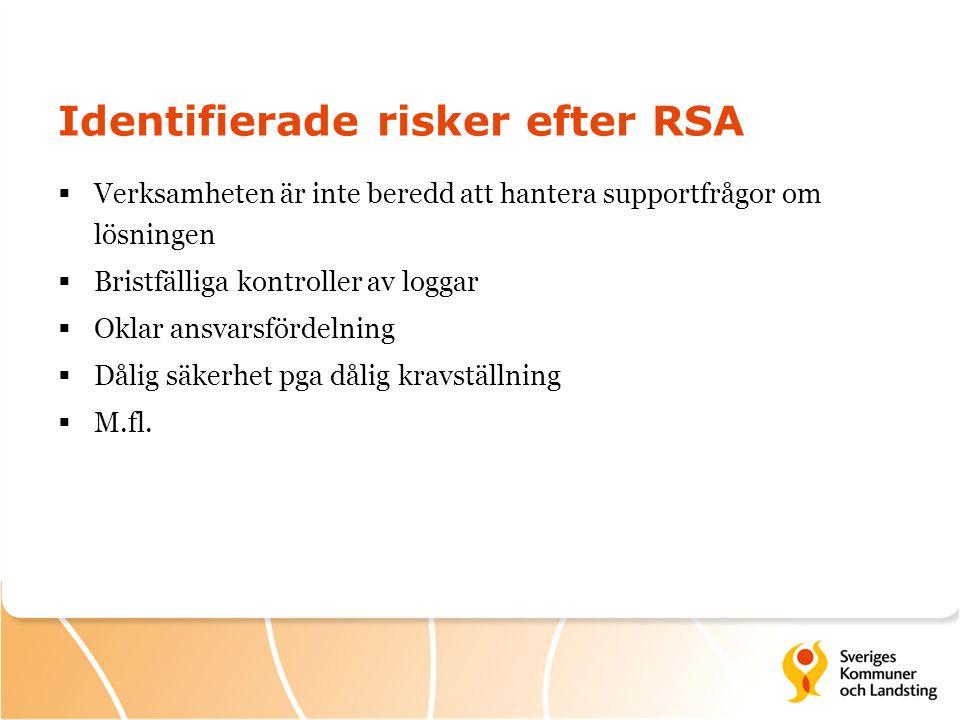 Identifierade risker efter RSA  Verksamheten är inte beredd att hantera supportfrågor om lösningen  Bristfälliga kontroller av loggar  Oklar ansvarsfördelning  Dålig säkerhet pga dålig kravställning  M.fl.