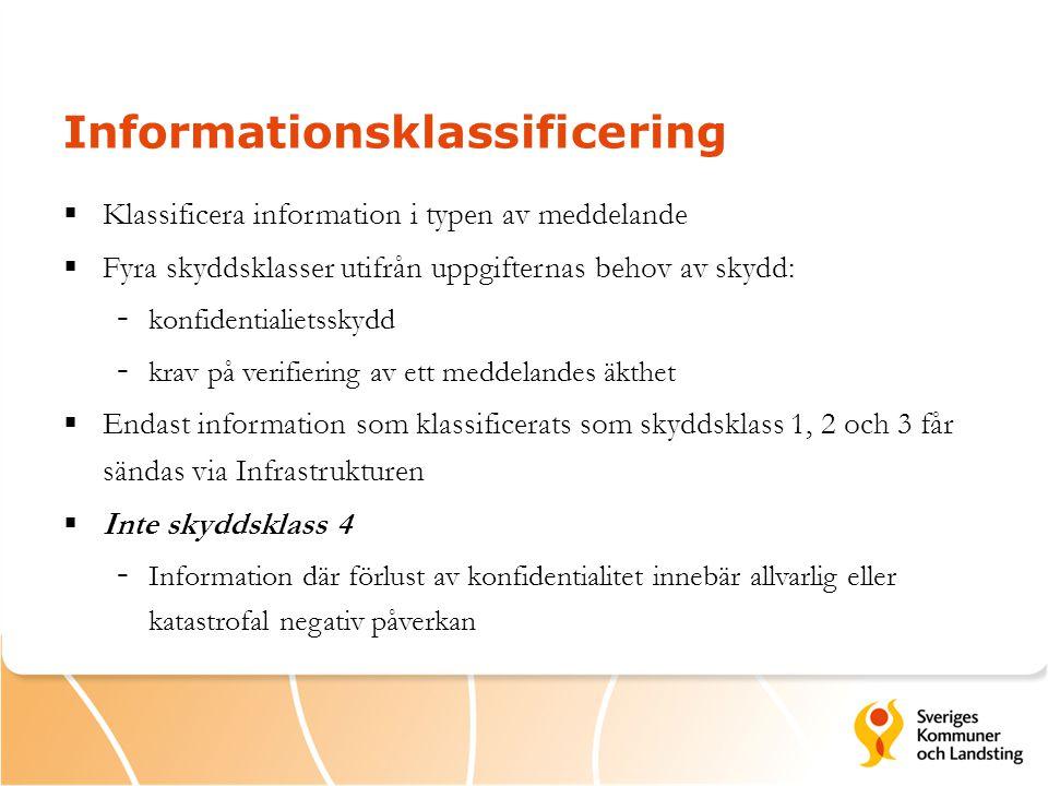 Informationsklassificering  Klassificera information i typen av meddelande  Fyra skyddsklasser utifrån uppgifternas behov av skydd: - konfidentialietsskydd - krav på verifiering av ett meddelandes äkthet  Endast information som klassificerats som skyddsklass 1, 2 och 3 får sändas via Infrastrukturen  Inte skyddsklass 4 - Information där förlust av konfidentialitet innebär allvarlig eller katastrofal negativ påverkan